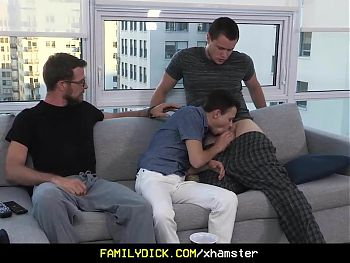 Horny stepdad and older brother fucked a young twink