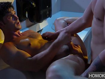 Toilet Room Pleasures of Two Gay Studs